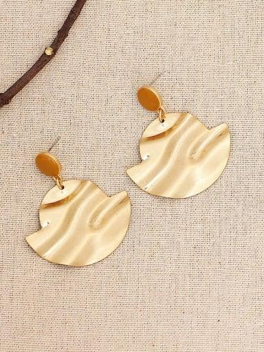 Golden sand Copper Enamel Geometric Vintage Drop Earring