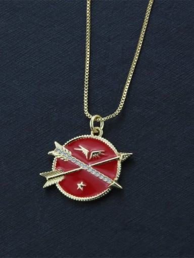 Gold Plated Red Brass Enamel Round Dainty Initials Necklace