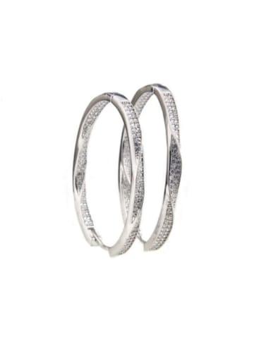 Platinum plated ellipse Brass Cubic Zirconia Oval Minimalist Hoop Earring