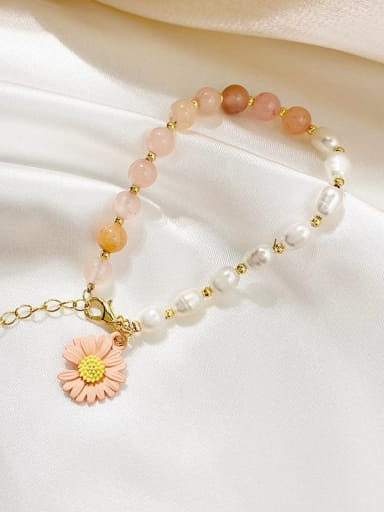 Strawberry crystal. pearl Alloy Imitation Pearl Flower Cute Adjustable Bracelet