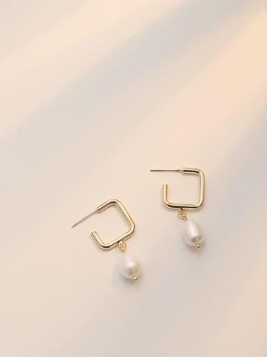 14K  gold Copper Freshwater Pearl Geometric Minimalist Drop Earring