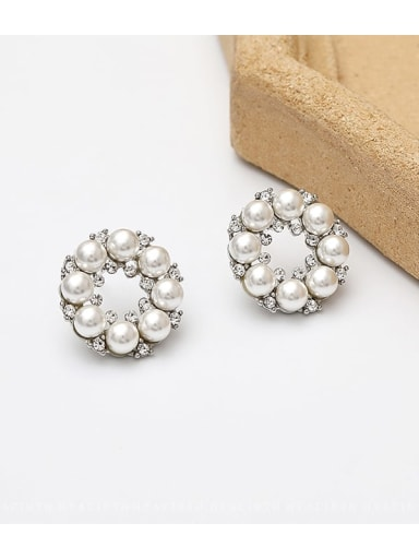 White K Copper Imitation Pearl Flower Ethnic Stud Earring
