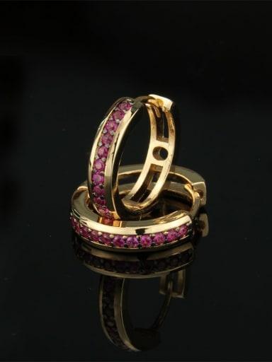 Gold Plated Red zircon Brass Cubic Zirconia Round Dainty Hoop Earring