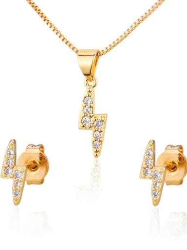 Brass lightning Cubic Zirconia Earring and Necklace Set