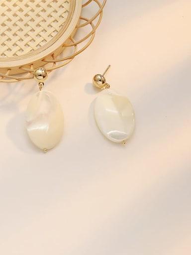 Shell white Copper Shell Geometric Minimalist Drop Earring