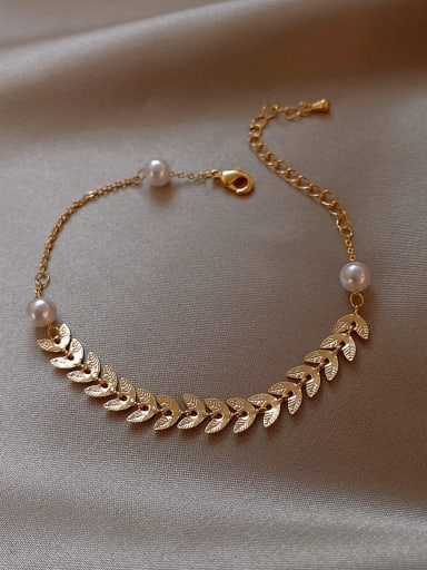 Alloy+Bracelet(b) Titanium Imitation Pearl White Feather Trend Lariat Necklace