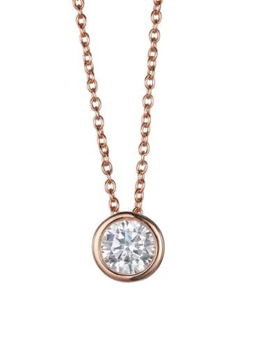 rose gold Stainless steel  Round Cubic Zirconia Round Minimalist Necklace