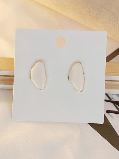 white Copper Enamel Geometric Ethnic Stud Earring