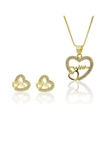 golden Brass Rhinestone Dainty Heart  Earring and Necklace Set
