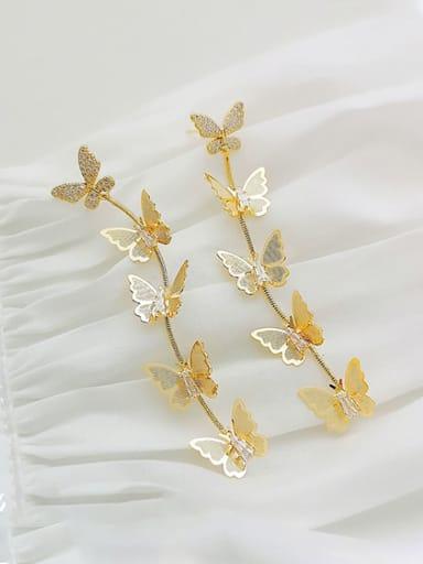 Copper Cubic Zirconia Butterfly Dainty Drop Earring