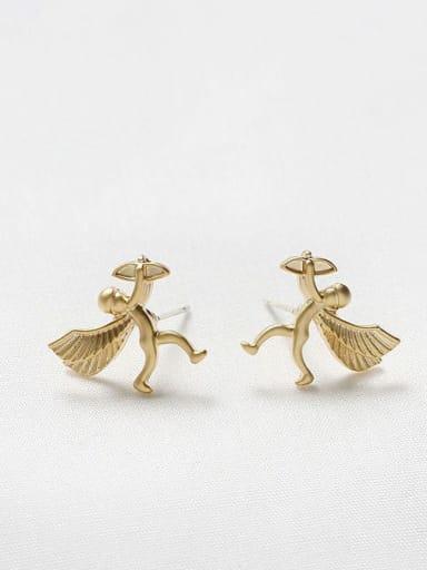 Dumb gold Copper Angel Cute Stud Earring
