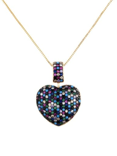 Gold Plated mixed color Brass Rhinestone Heart Dainty   Pendant Necklace