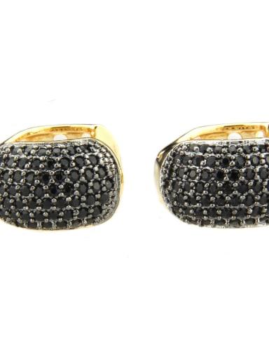 Gold Plated Black zircon Brass Cubic Zirconia Round Minimalist Clip Earring