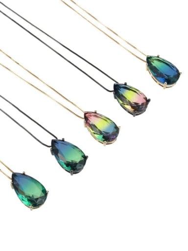 Brass Cubic Zirconia Water Drop Luxury Necklace