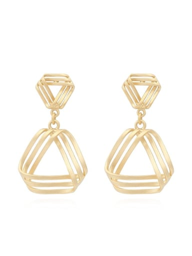 Copper Hollow Triangle Minimalist Drop Earring