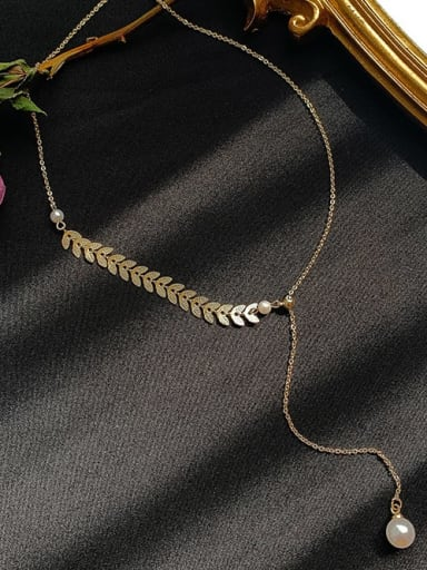 Titanium+Necklace Titanium Imitation Pearl White Feather Trend Lariat Necklace