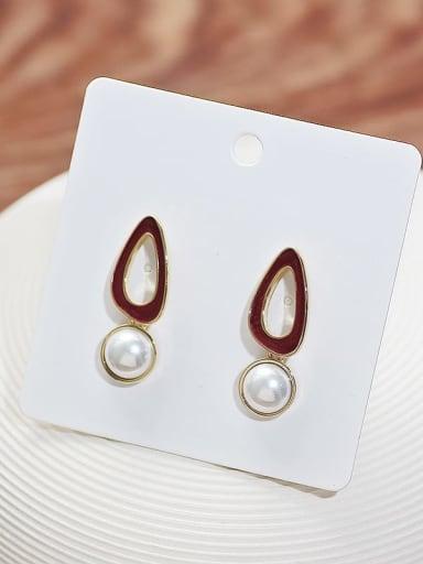 14K gold wine red Copper Imitation Pearl Enamel Geometric Minimalist Drop Earring