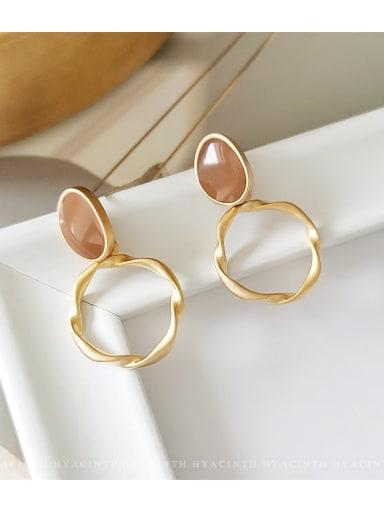 Matte gold Copper Enamel Geometric Minimalist Drop Earring