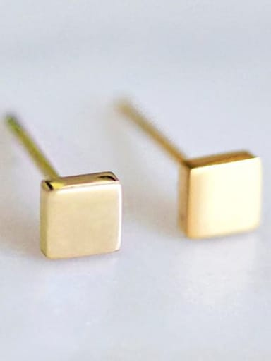 golden Stainless steel Square Minimalist Stud Earring