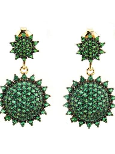 Gold Plated green Brass Cubic Zirconia Irregular Luxury Drop Earring