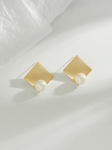 Dumb gold Copper Imitation Pearl Square Minimalist Stud Earring