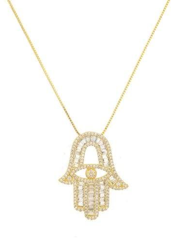 Brass Cubic Zirconia Hand Of Gold Dainty Necklace