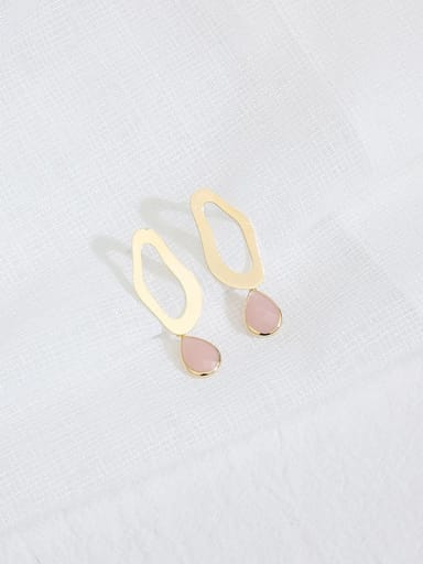 Pink Crystal Copper Cats Eye Water Drop Minimalist Stud Earring