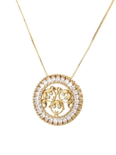 Women and men Brass Cubic Zirconia Round Cute Girl Pendant Necklace