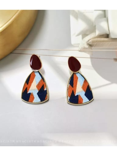 colour Copper Fabric Triangle Minimalist Drop Earring