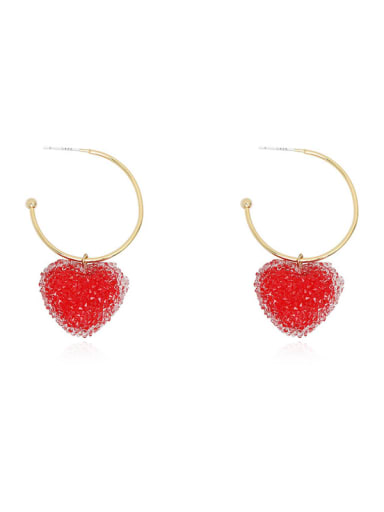 Copper Imitation Crystal Heart Minimalist Hook Earring