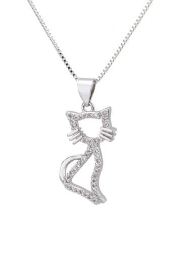 Platinum plating Brass Cubic Zirconia Cat Cute Necklace
