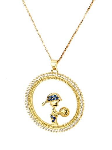 Blue zirconium boy Brass Cubic Zirconia Round Cute boy girl  Pendant Necklace