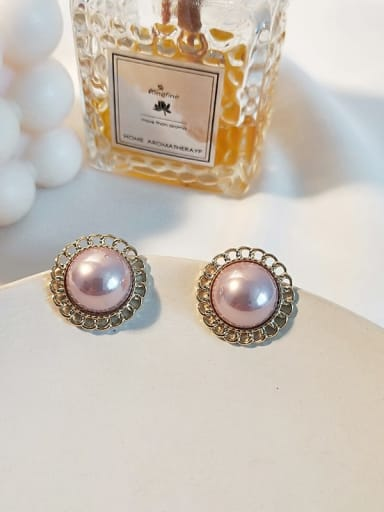 14K  gold pink Copper Imitation Pearl Flower Ethnic Stud Earring