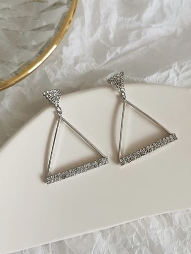 White K Copper Rhinestone Triangle Minimalist Drop Earring