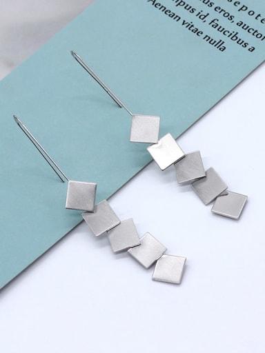white k Copper Tassel Minimalist Drop Earring
