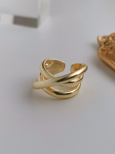 Copper Smooth Cross Minimalist Free Size Band Ring