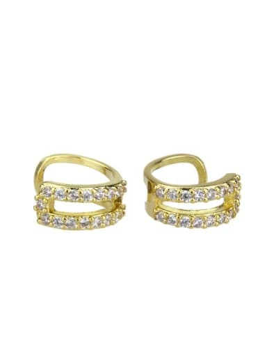 gold-plated Brass Cubic Zirconia Round Dainty Clip Earring
