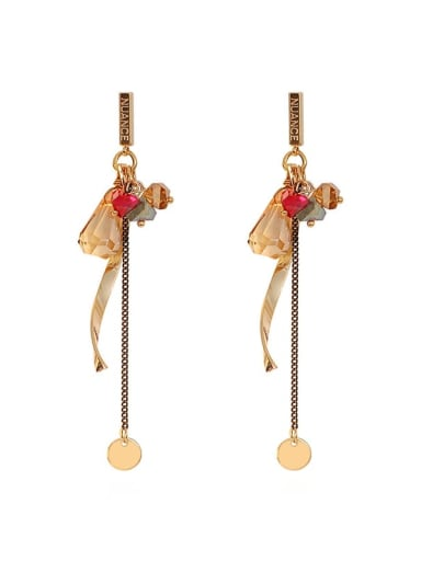 Copper Crystal Tassel Ethnic Threader Earring
