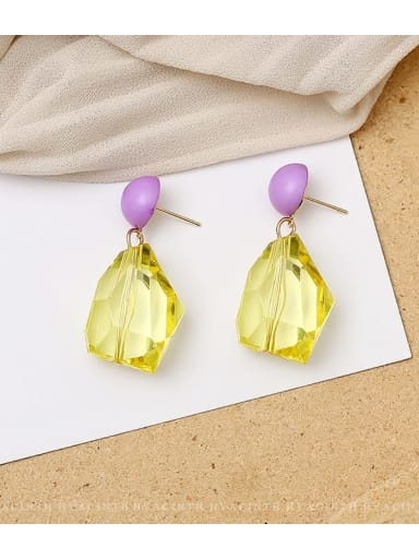 yellow Copper Crystal Geometric Dainty Drop Earring