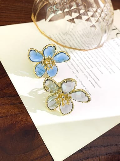 Alloy+ Millefiori Glass White Flower Trend Ring
