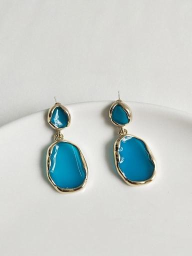 14K  gold lake blue Copper Enamel Geometric Minimalist Stud Earring
