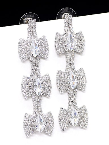 White K Copper  Cubic Zirconia Tassel Statement Cluster Earring
