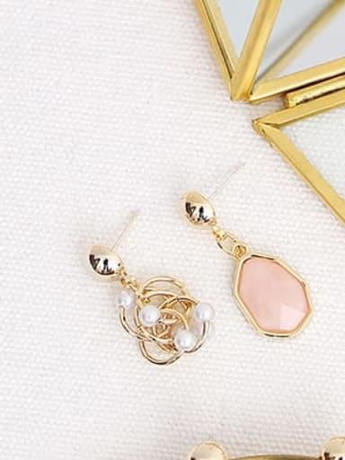 pink Copper Resin Geometric Bohemia Drop Earring