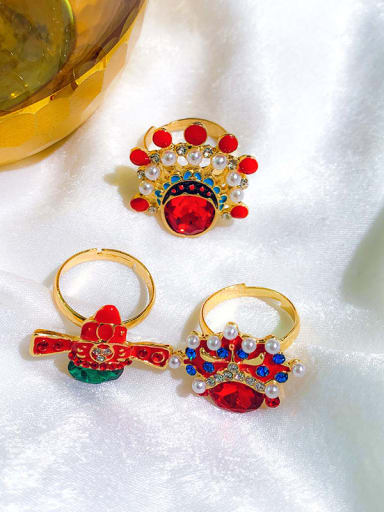 Alloy+ Red Face Or Hat Statement Statement Ring/Free Size Ring