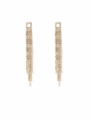 Copper Cubic Zirconia Tassel Luxury Threader Earring