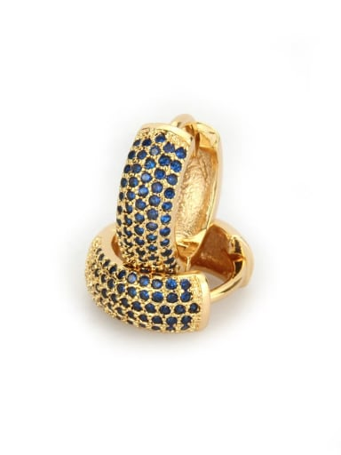 Gold Plated blue zirconium Brass Cubic Zirconia Round Minimalist Hoop Earring