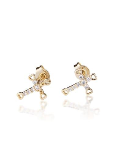 Gold plated white zirconium Brass  Cross Cubic Zirconia  Minimalist Stud Earring