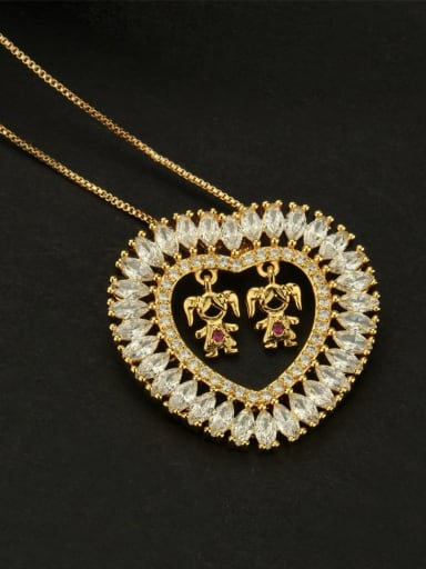 Needlework Brass Cubic Zirconia Heart Dainty  Pendant Necklace