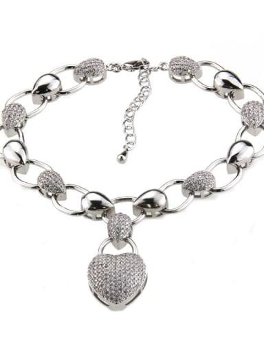 Platinum Brass Cubic Zirconia Heart Luxury Bracelet