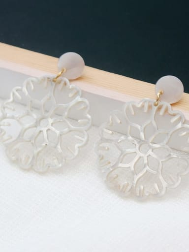 ivory Copper Acrylic Hollow Flower Ethnic Drop Earring